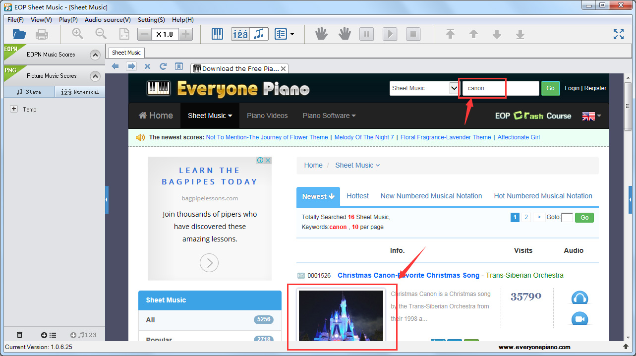Fourth Click The Page In Search Results And You Will See Sheet Music Thumbnails On Right Side Of Application Just Download By One