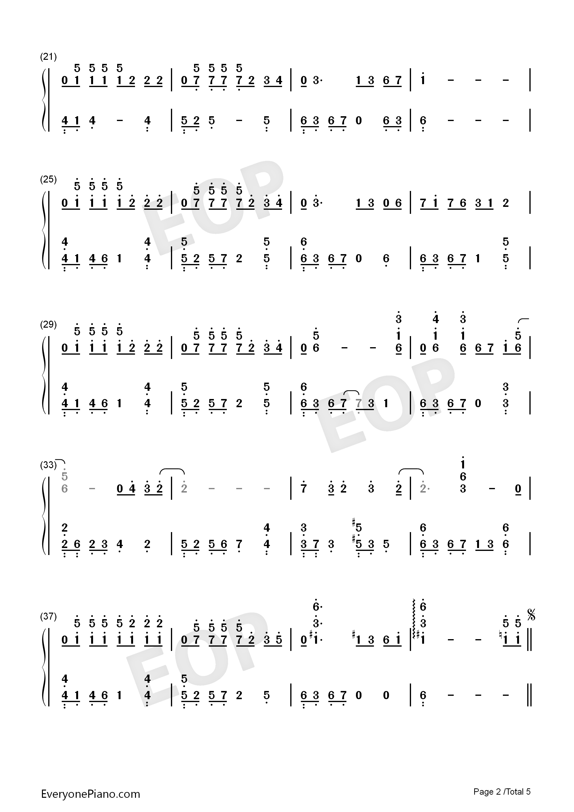 The truth that you leave Numbered Musical Notation Preview 2
