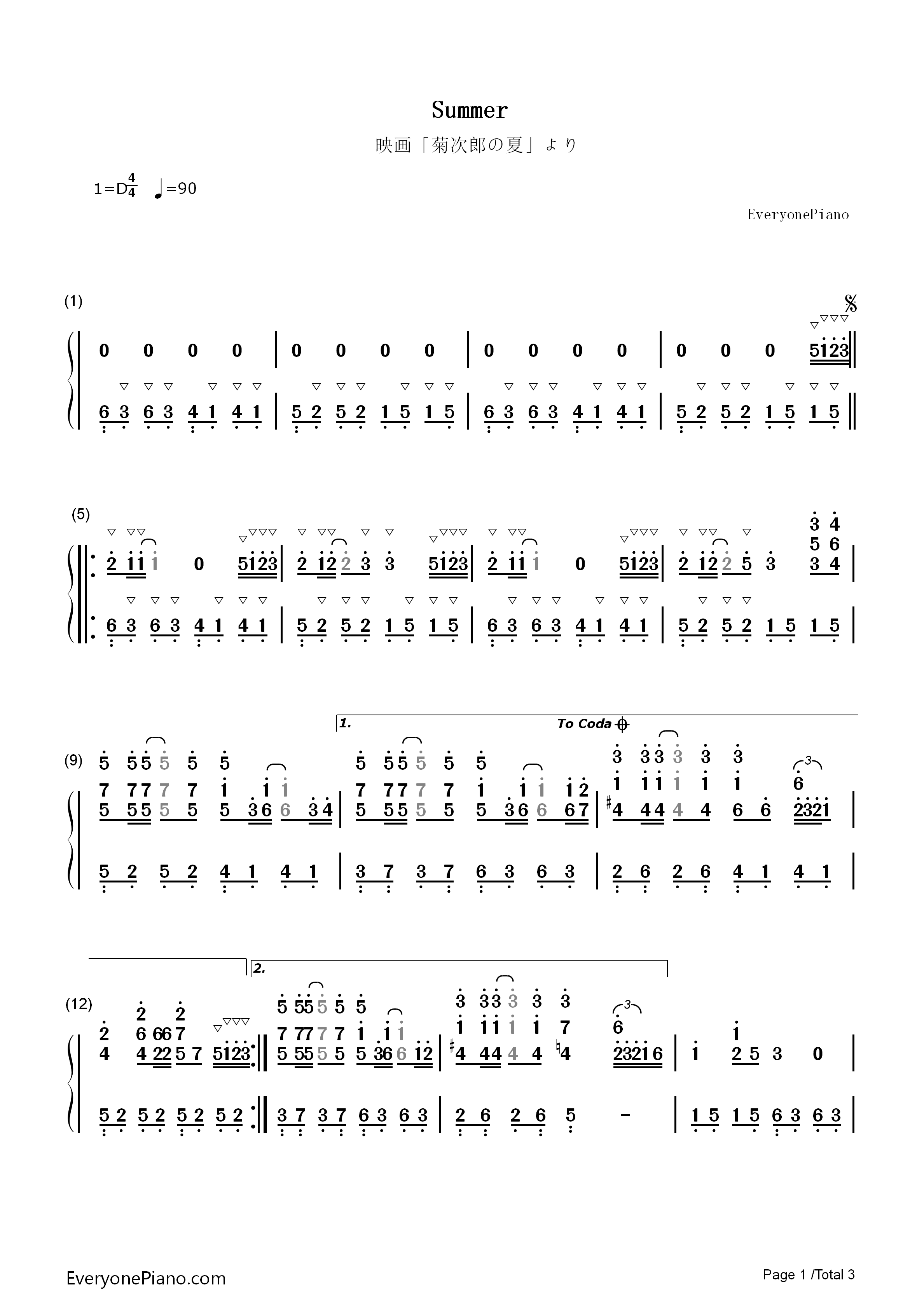 Summer-Kikujiro Theme Numbered Musical Notation Preview 1