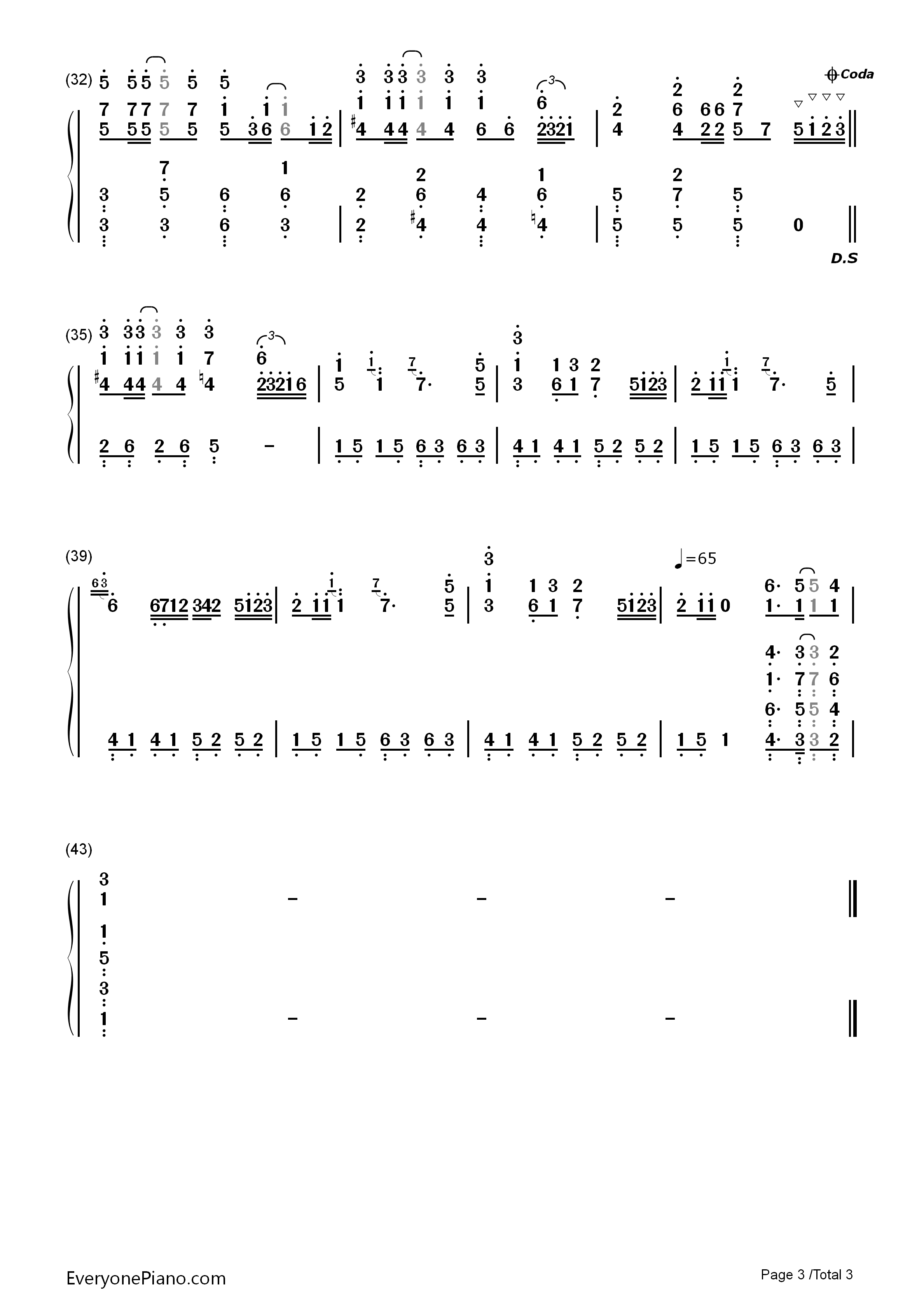 Summer-Kikujiro Theme Numbered Musical Notation Preview 3