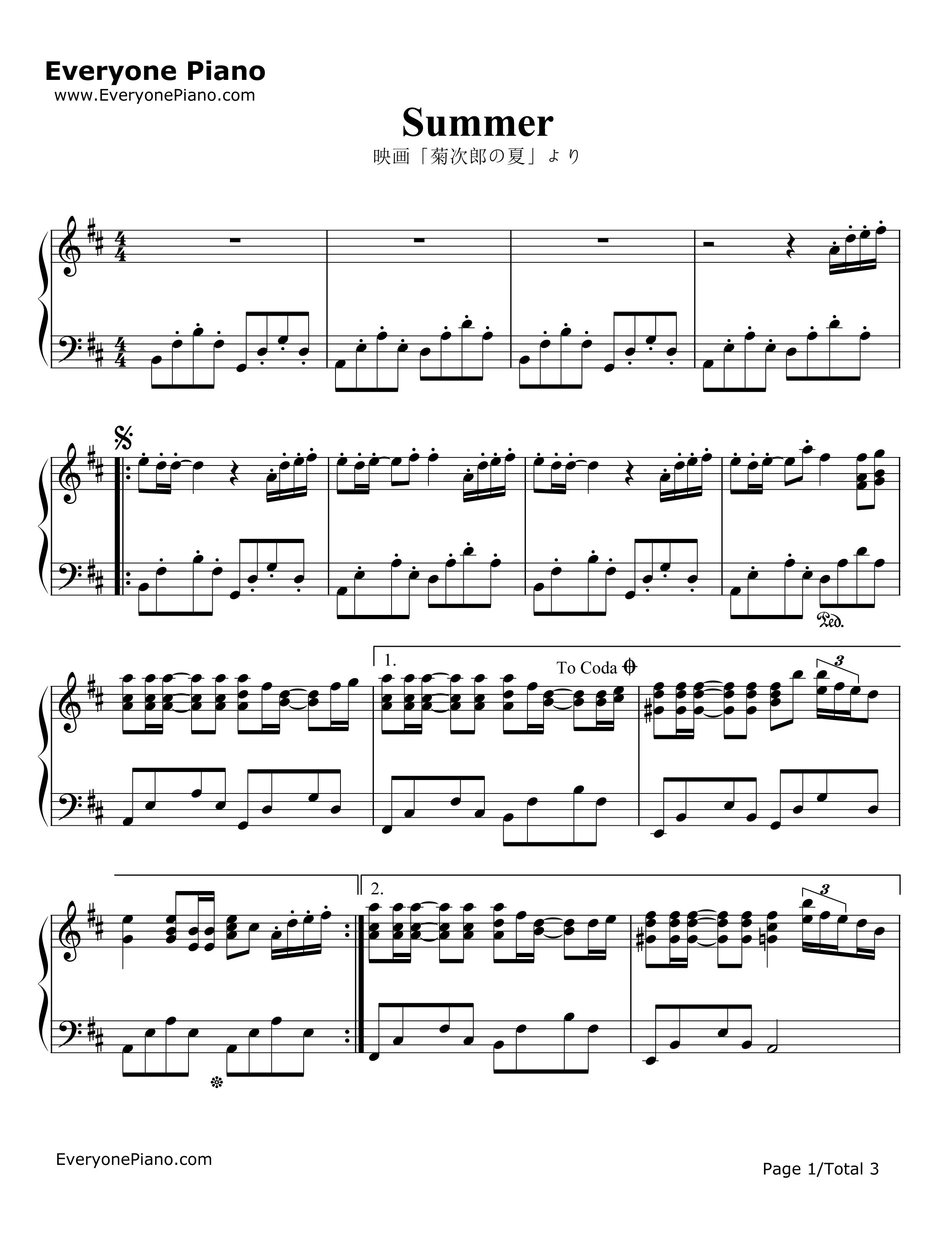 Summer-Kikujiro Theme Stave Preview 1-Free Piano Sheet Music ...