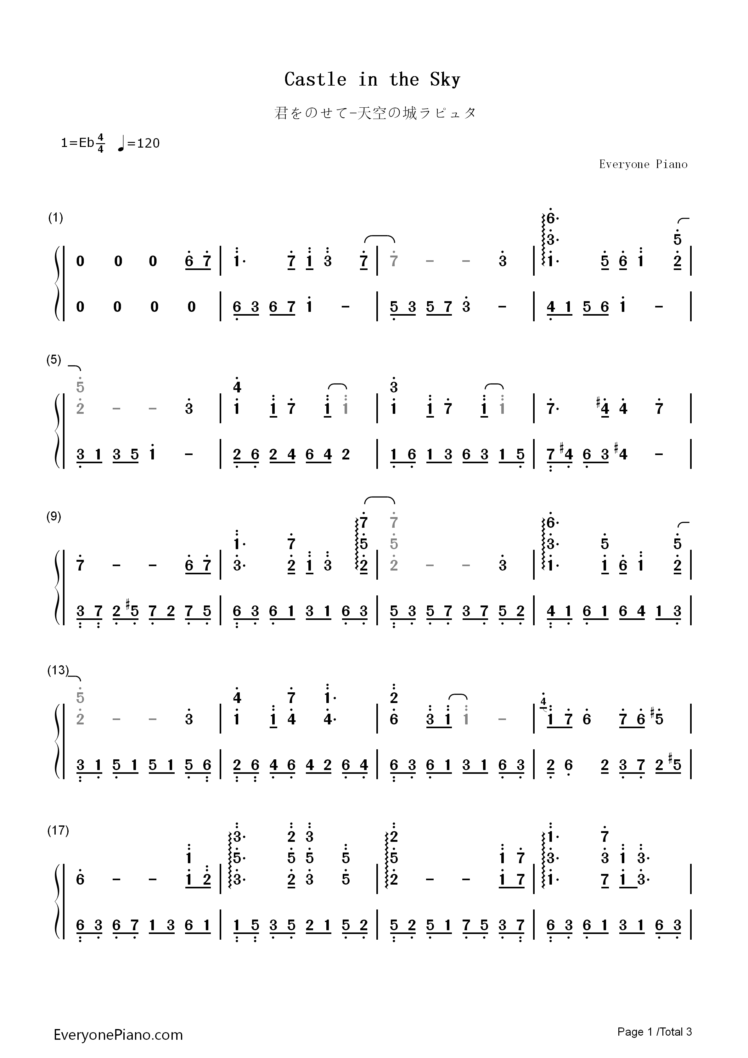 how to play castle in the sky on piano