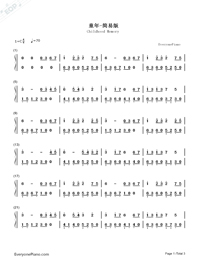 Childhood Memory-Childhood Numbered Musical Notation Preview 1