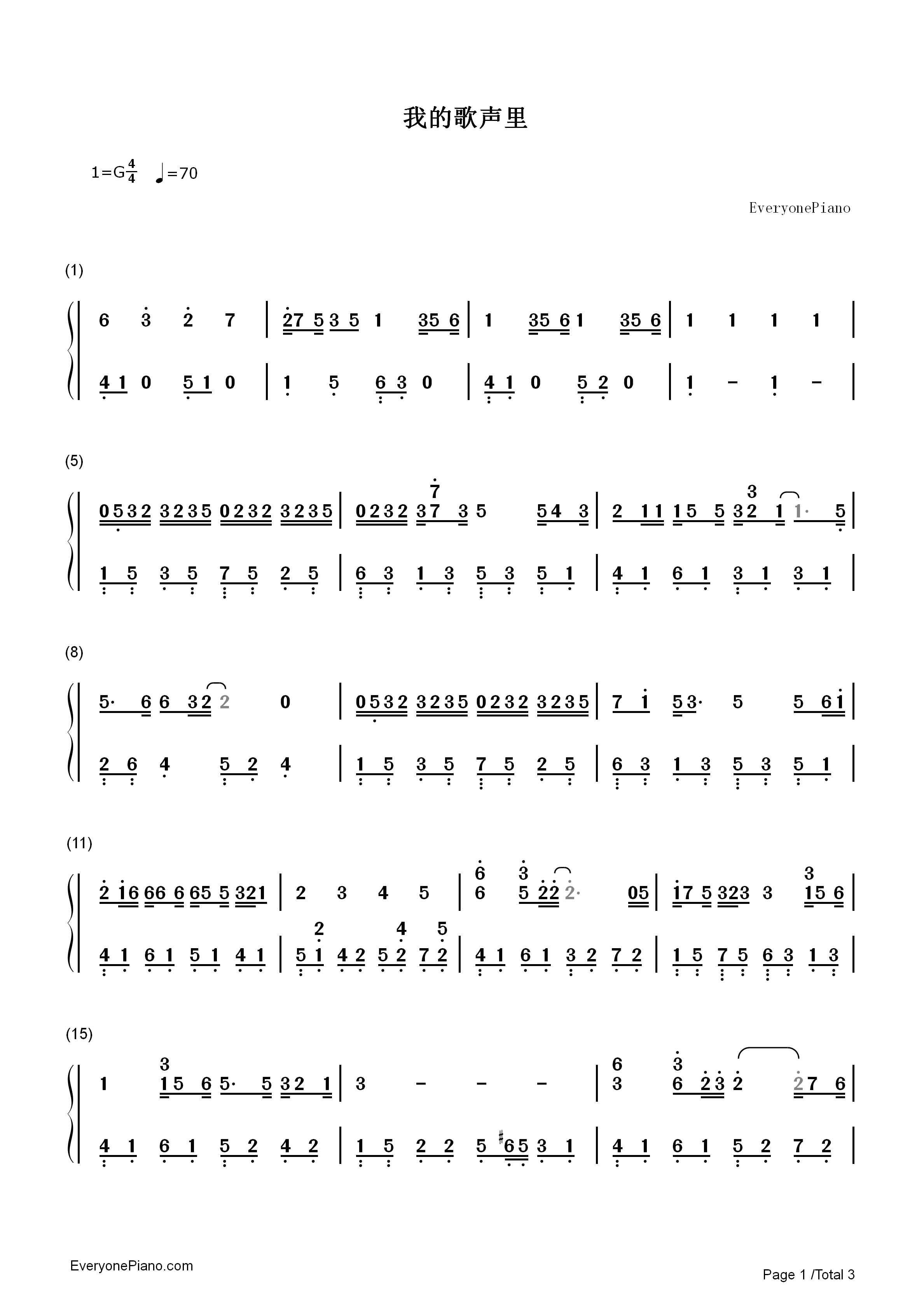 You Exist in My Song Numbered Musical Notation Preview 1