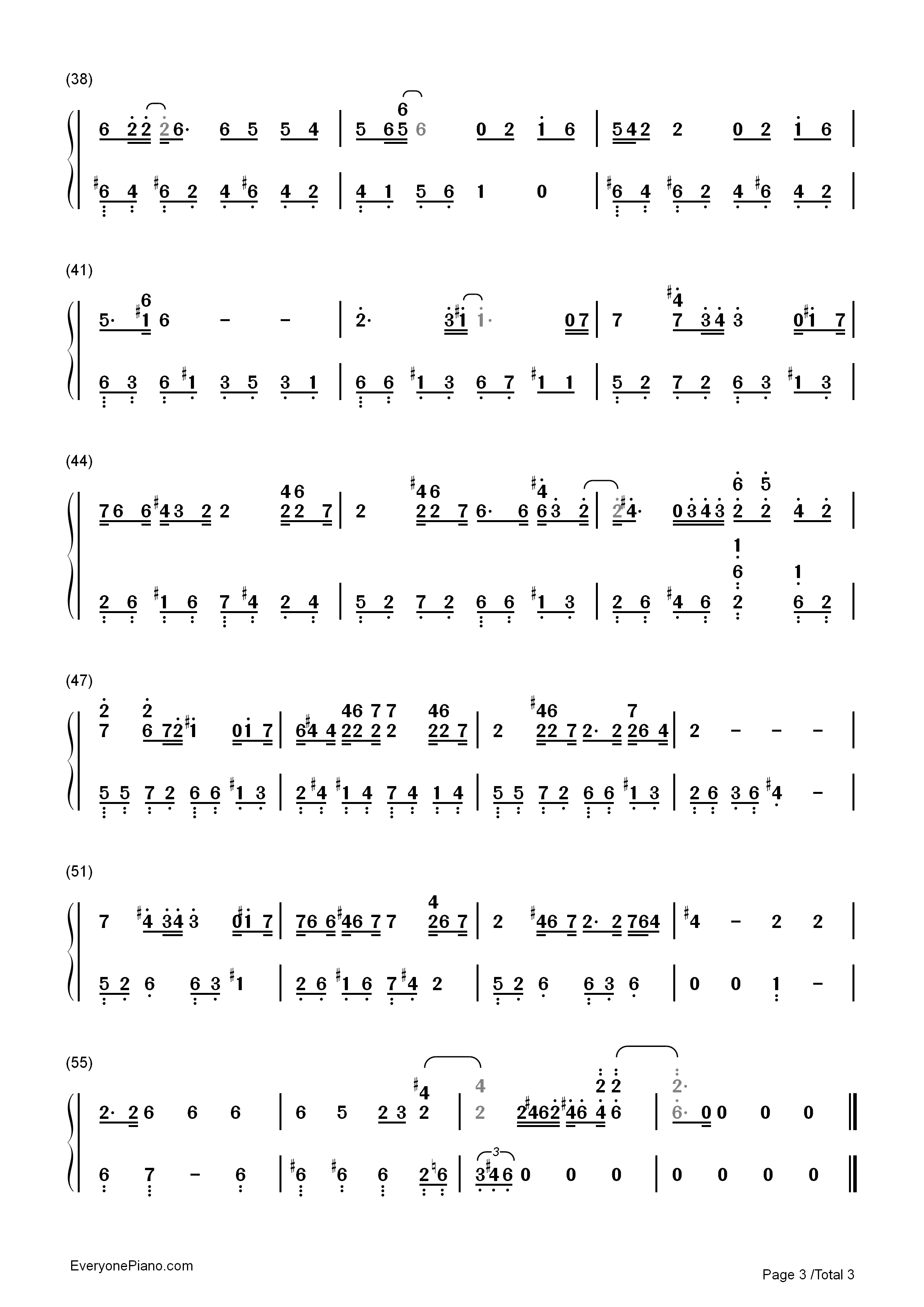 You Exist in My Song Numbered Musical Notation Preview 3