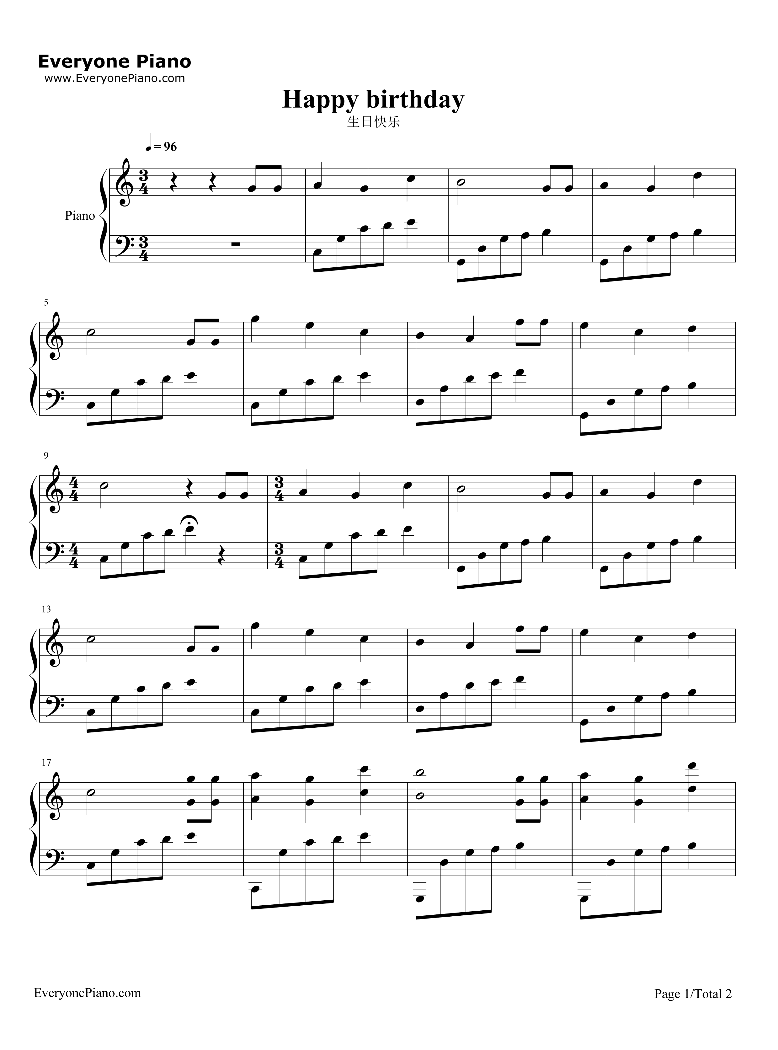 Piano notes for the happy birthday song