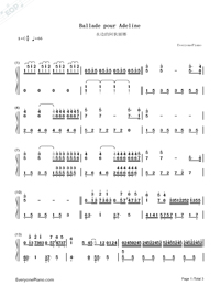 Ballade pour Adeline-Richard Clayderman-Numbered-Musical-Notation-Preview-1
