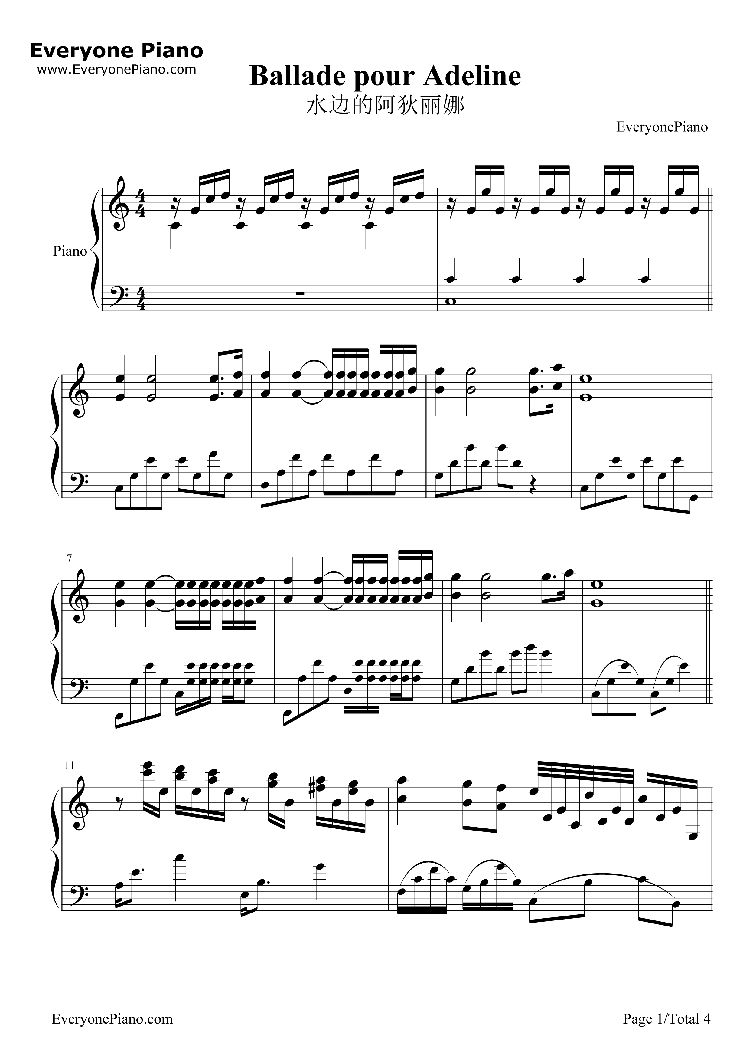 Ballade pour Adeline-Richard Clayderman Stave Preview 1-Free Piano Sheet Music u0026 Piano Chords