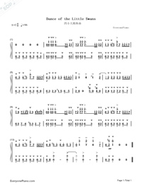 Danse des petits cygnes-Dance of the Little Swans Numbered Musical Notation Preview 1