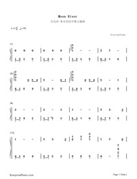 Moon River-Breakfast at Tiffany's Theme-Numbered-Musical-Notation-Preview-1