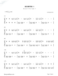 Melody Of The Night 5-Numbered-Musical-Notation-Preview-1