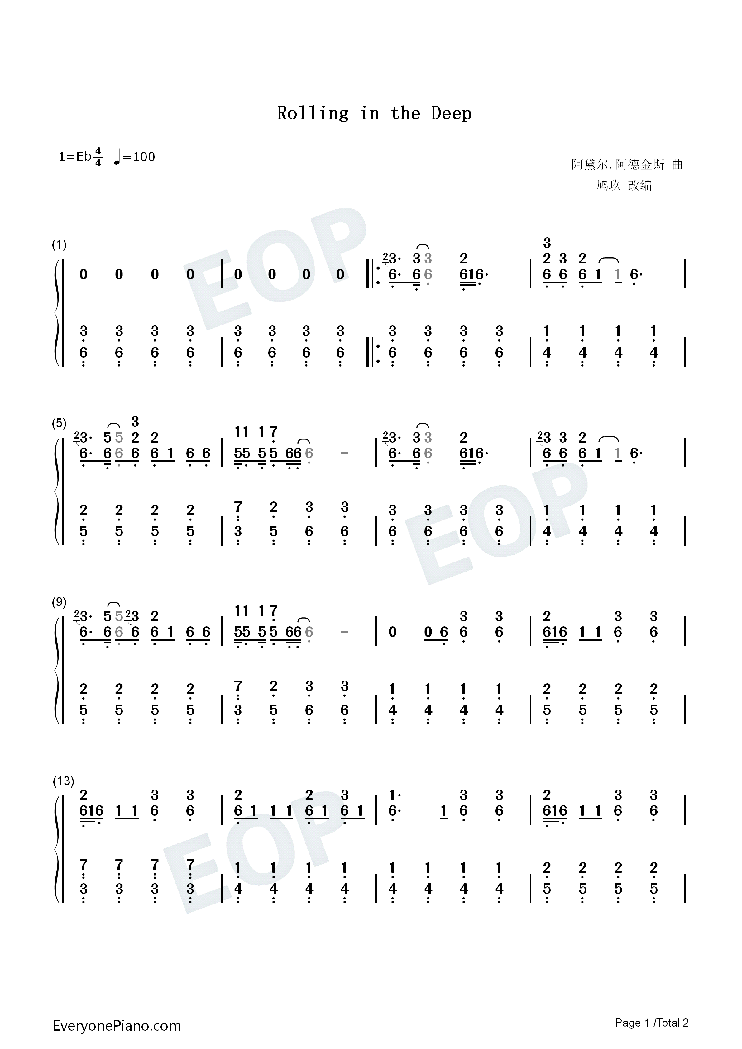 Rolling in the Deep Numbered Musical Notation Preview 1-Free Piano Sheet Music u0026 Piano Chords