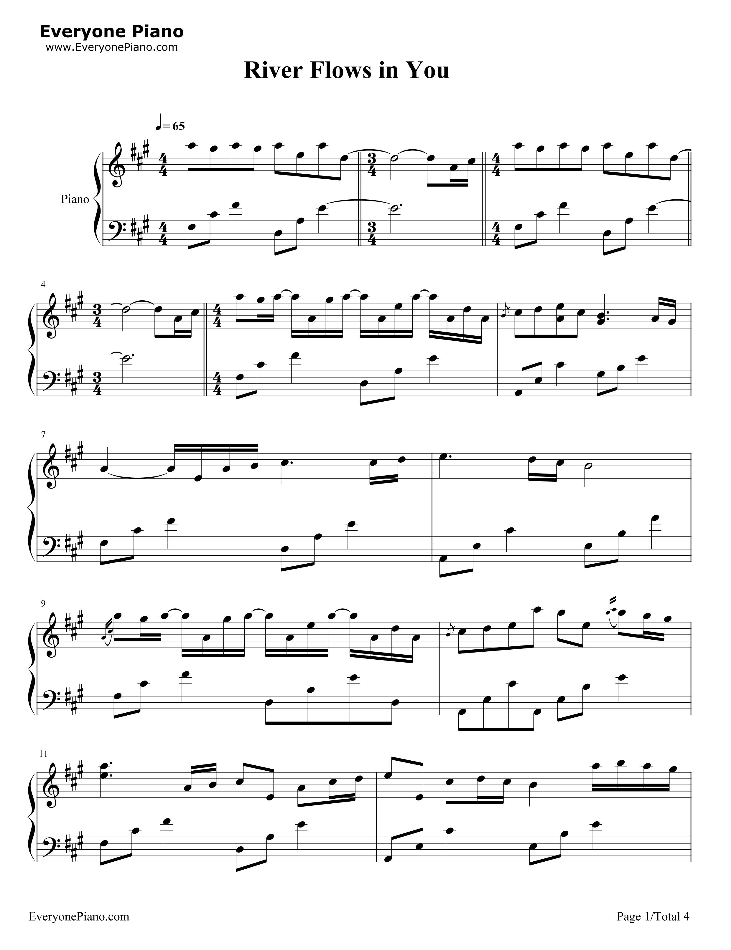 Yiruma River Flows In You Piano Sheet Music Single Sheet