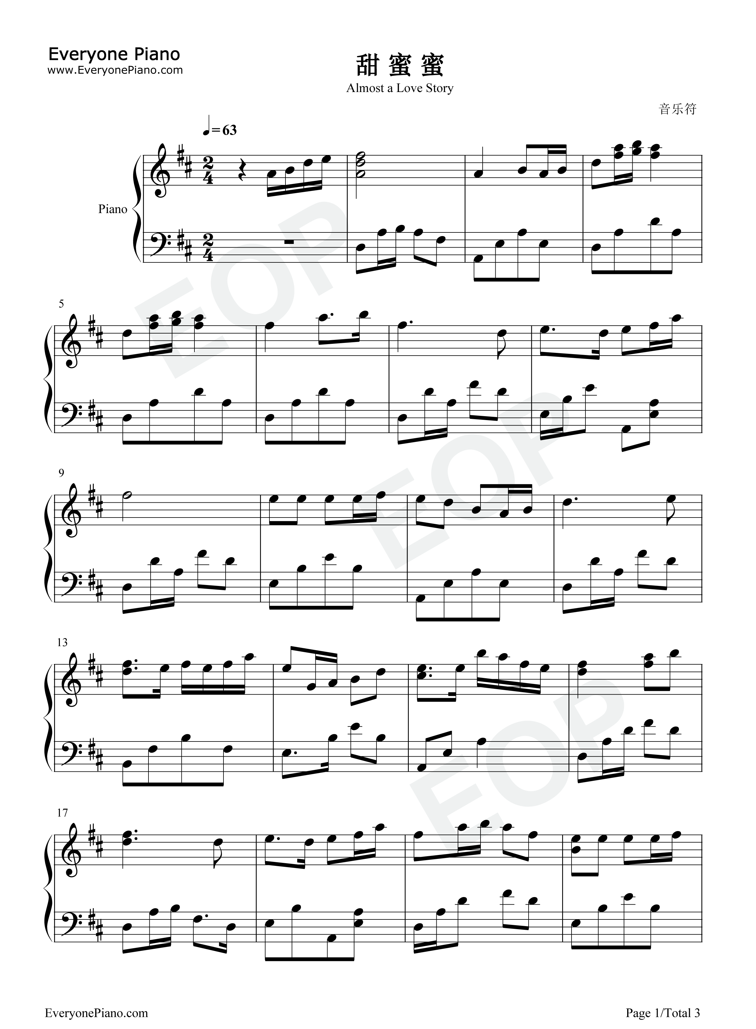 Almost a Love Story Stave Preview 1- Free Piano Sheet Music ...