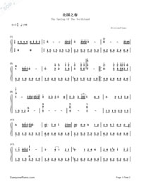 The Spring Of The Northland-Teresa Teng-Numbered-Musical-Notation-Preview-1