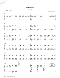 Snowdream-Bandari(New Age Music)-Numbered-Musical-Notation-Preview-1