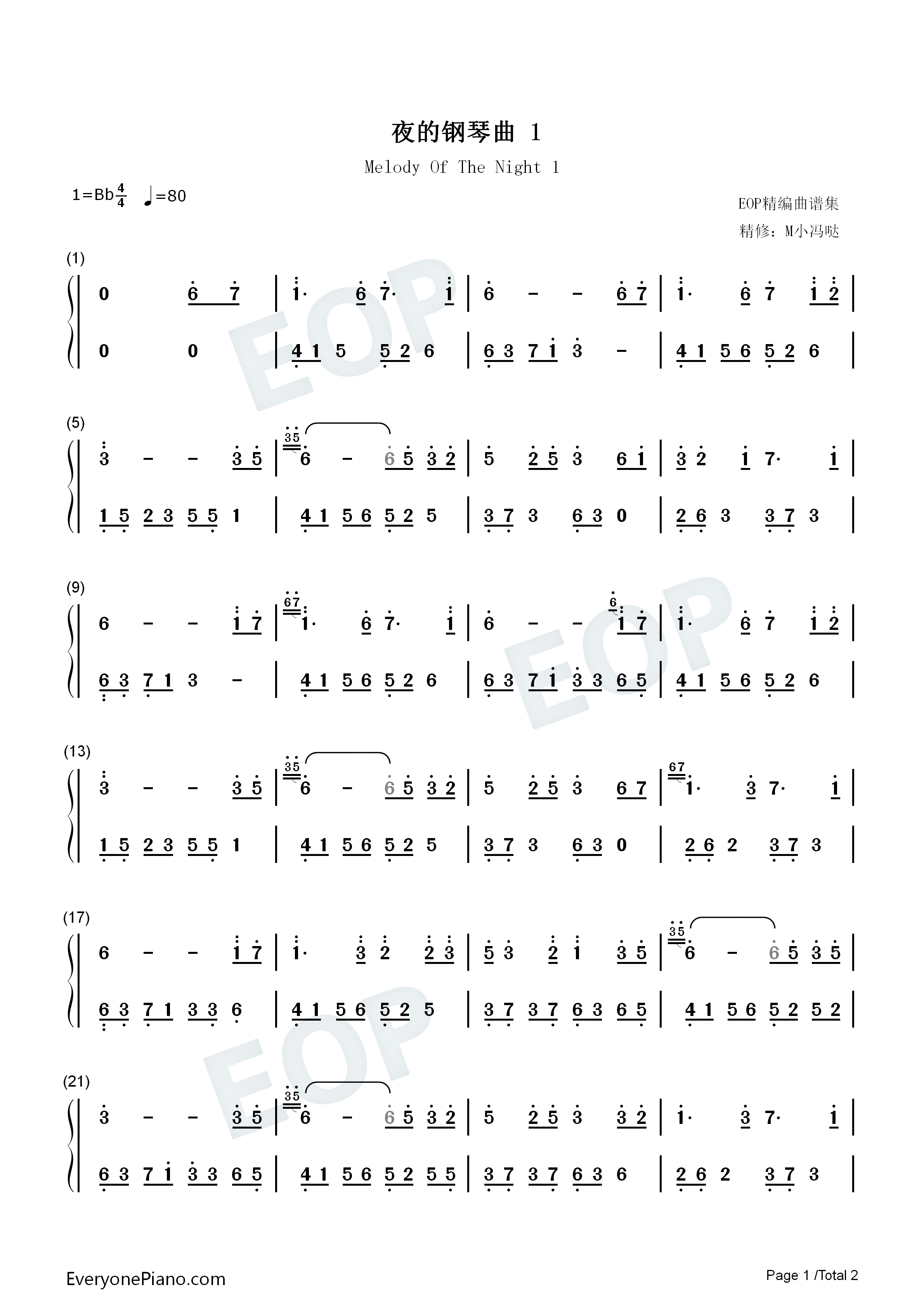 Melody Of The Night 1 Numbered Musical Notation Preview 1