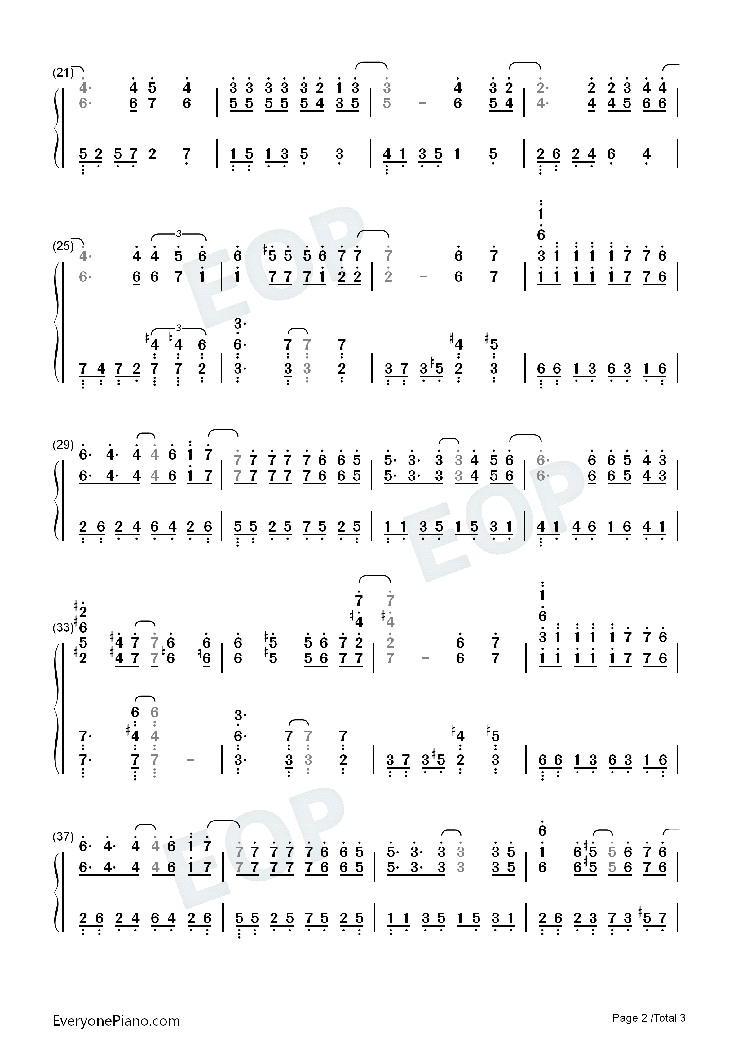 Listen Now Print Sheet Fate   The Theme Song For Full House Numbered  Musical Notation Preview 2. }