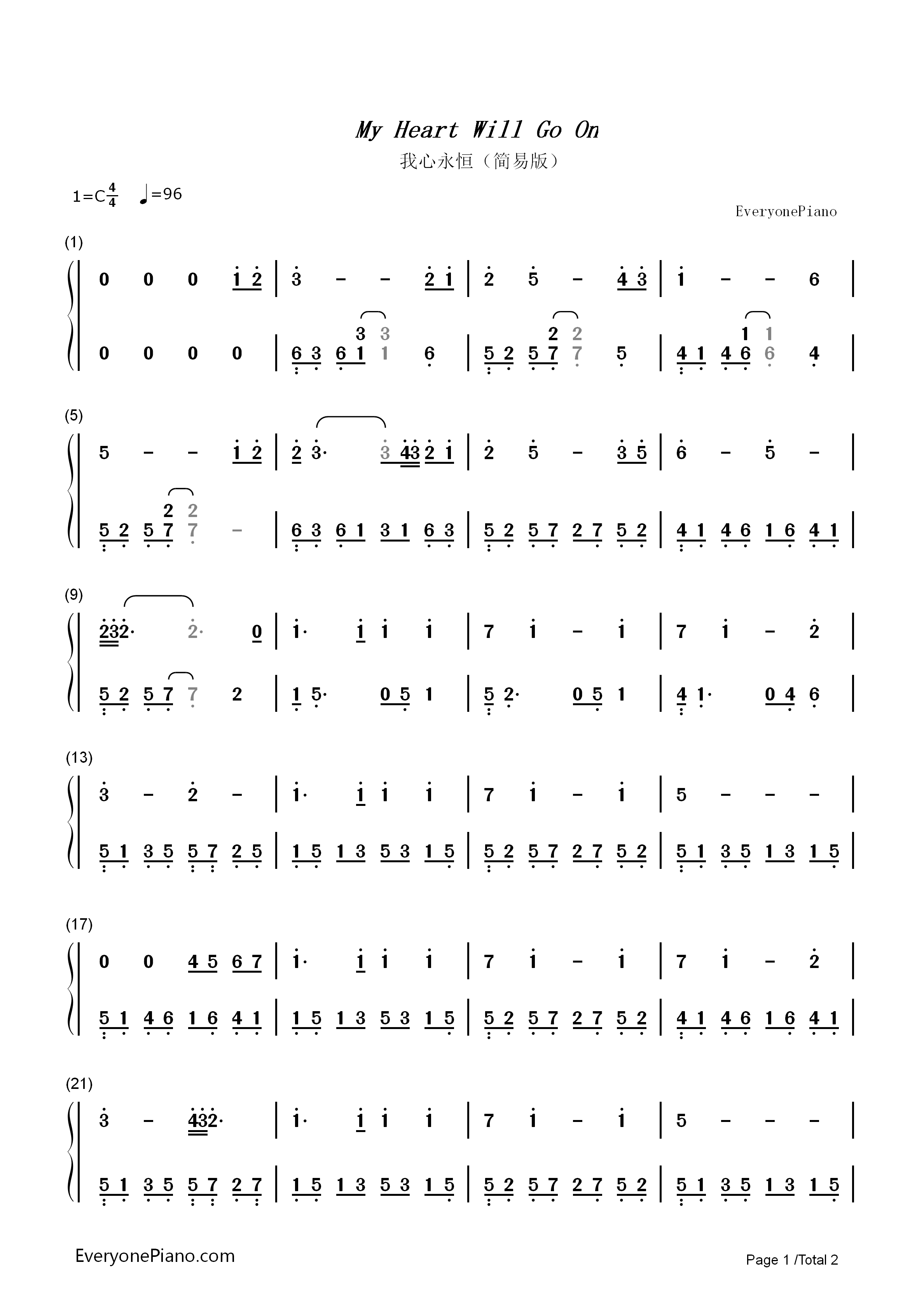 My Heart Will Go On-Titanic Theme Numbered Musical Notation Preview 1-Free Piano Sheet Music ...