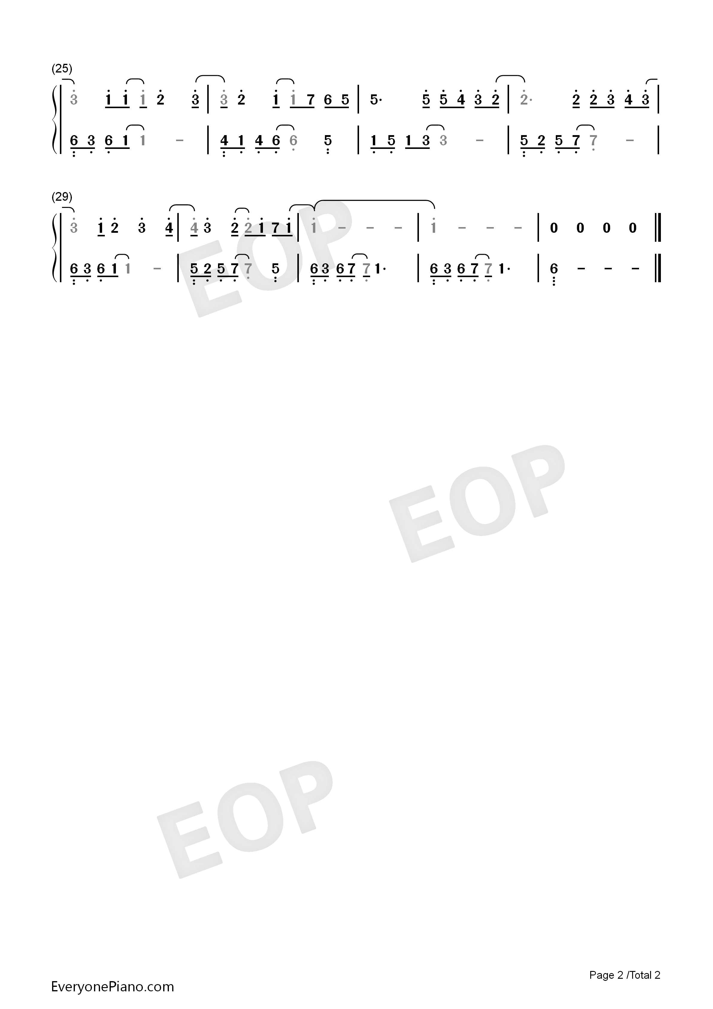 Right Here Waiting Numbered Musical Notation Preview 2-Free Piano Sheet Music u0026 Piano Chords