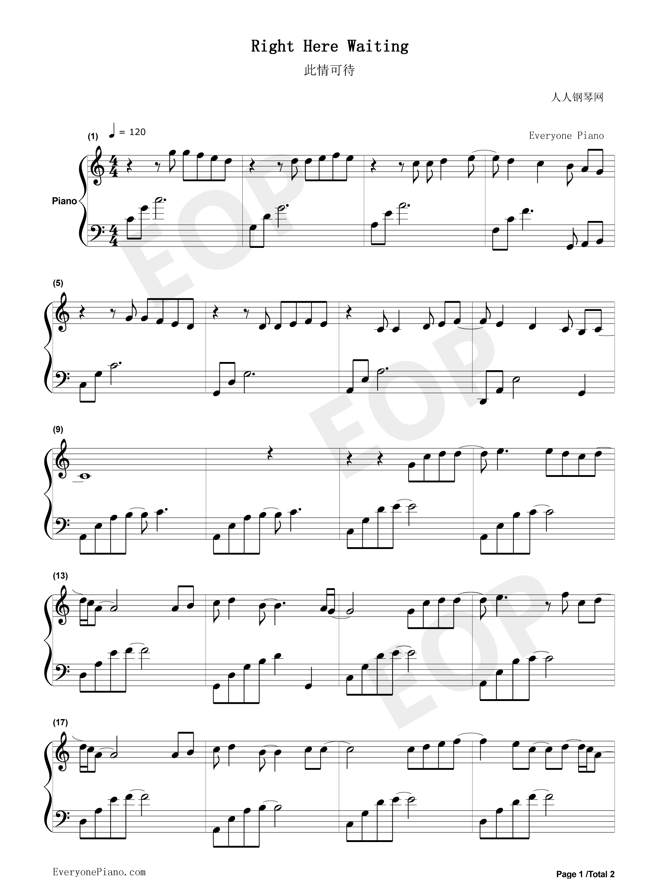 ... Here Waiting Stave Preview 1-Free Piano Sheet Music & Piano Chords