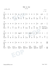 Ode to Joy-Ode an die Freude-Numbered-Musical-Notation-Preview-1