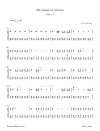The Sound of Silence Numbered Musical Notation Preview 1