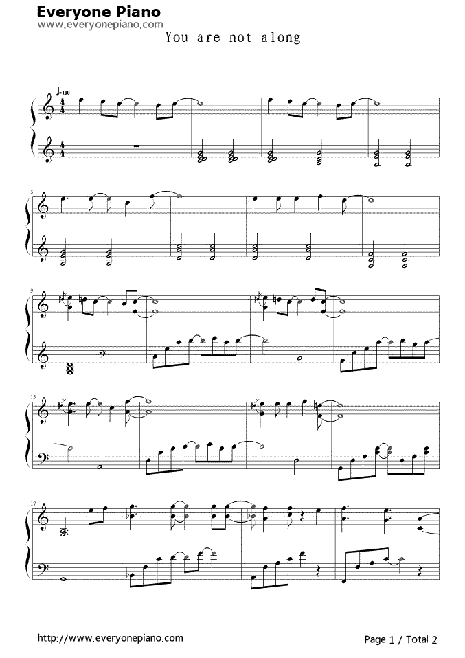 You Are Not Alone Stave Preview 1 Free Piano Sheet Music Piano Chords