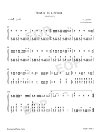 Trouble is a friend-Numbered-Musical-Notation-Preview-1