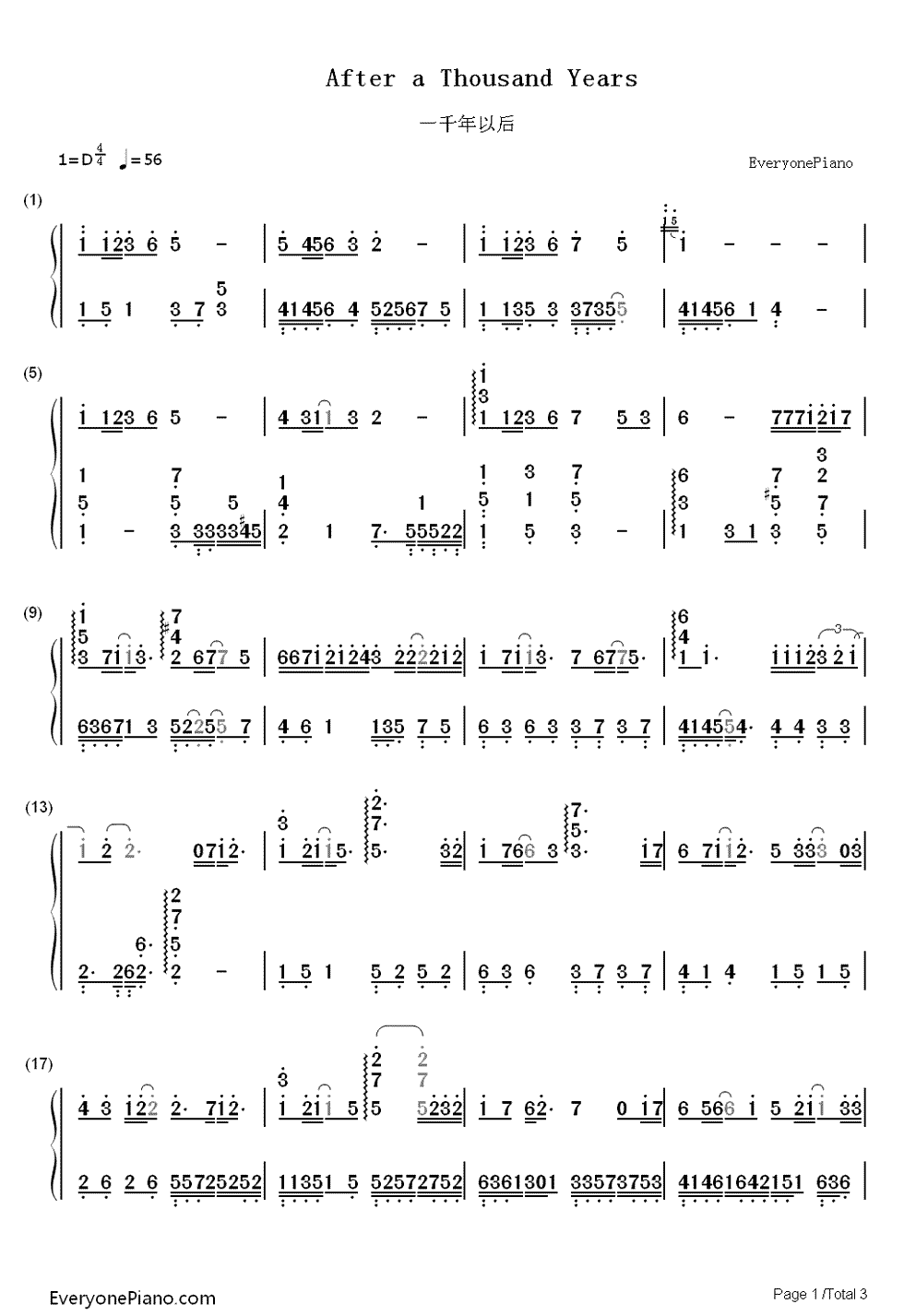 After a thousand years numbered musical notation preview 1 free listen now print sheet after a thousand years numbered musical notation preview 1 hexwebz Image collections