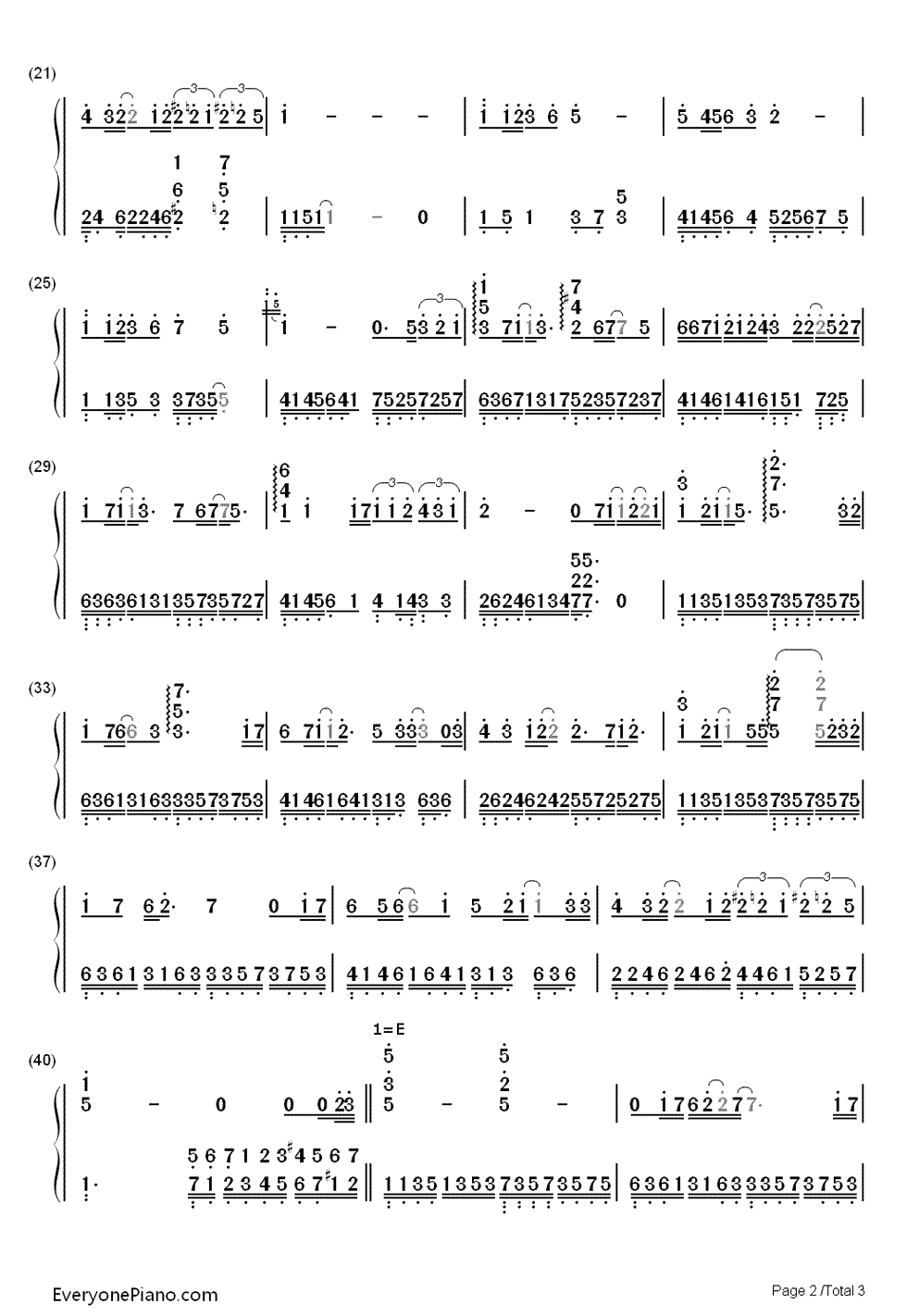 After a Thousand Years Numbered Musical Notation Preview 2-Free Piano Sheet Music u0026 Piano Chords
