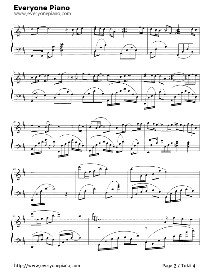 Piano a thousand years piano sheet music : After a Thousand Years Stave Preview 2- Free Piano Sheet Music ...
