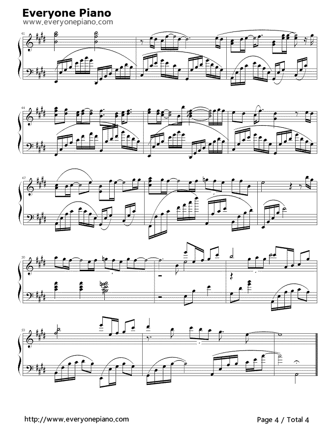 Piano a thousand years piano sheet music : After a Thousand Years Stave Preview 4- Free Piano Sheet Music ...