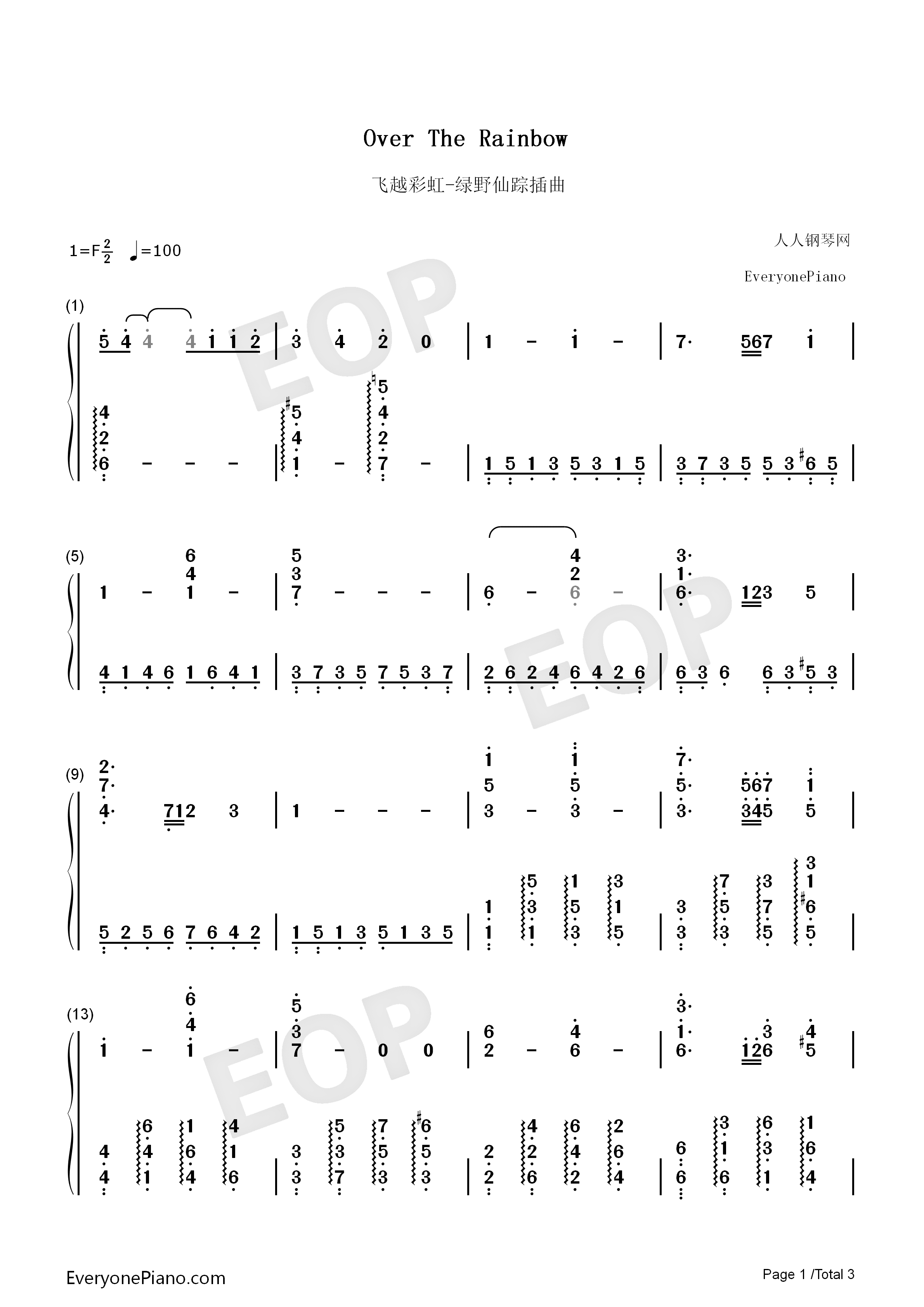 Over the rainbow the wizard of oz ost numbered musical notation listen now print sheet over the rainbow the wizard of oz ost numbered musical notation preview 1 hexwebz Gallery