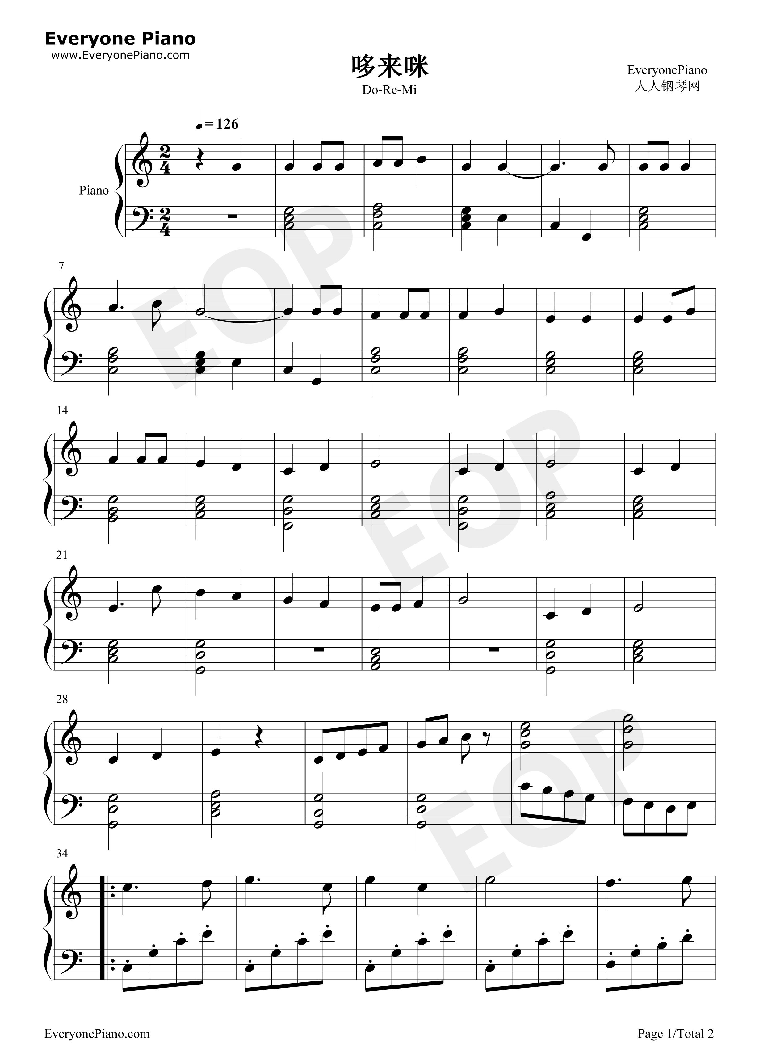 Do re mi the sound of music ost stave preview 1 free piano sheet listen now print sheet do re mi the sound of music ost stave preview 1 hexwebz Image collections