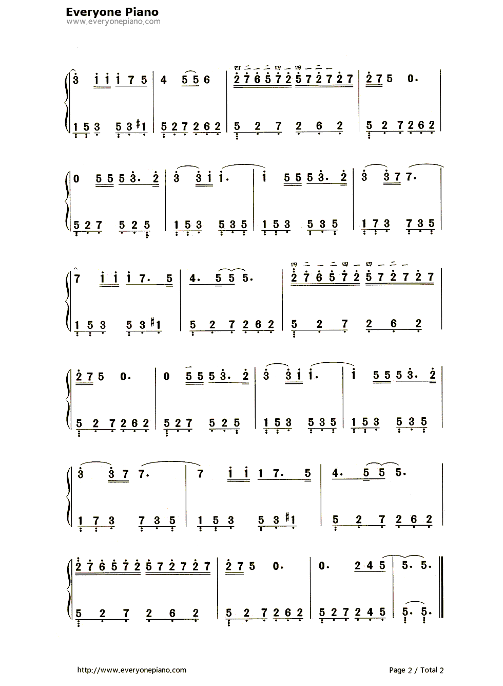 Dolannes Melody Numbered Musical Notation Preview 2