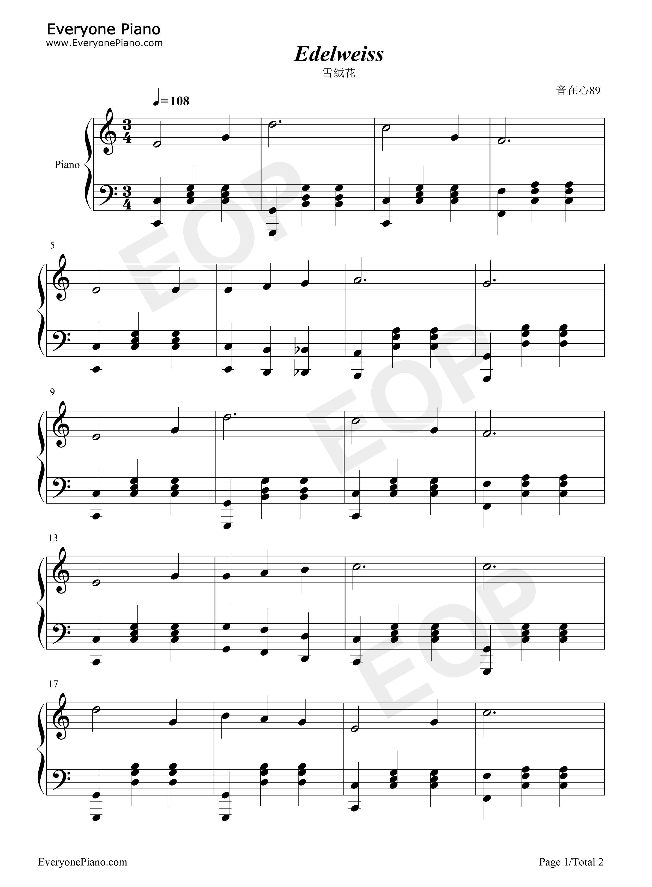 Edelweiss  Rodgers amp Hammerstein  Lyrics amp Chords