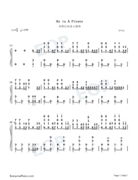 He's a Pirate-Pirates of the Caribbean Numbered Musical Notation Preview 1