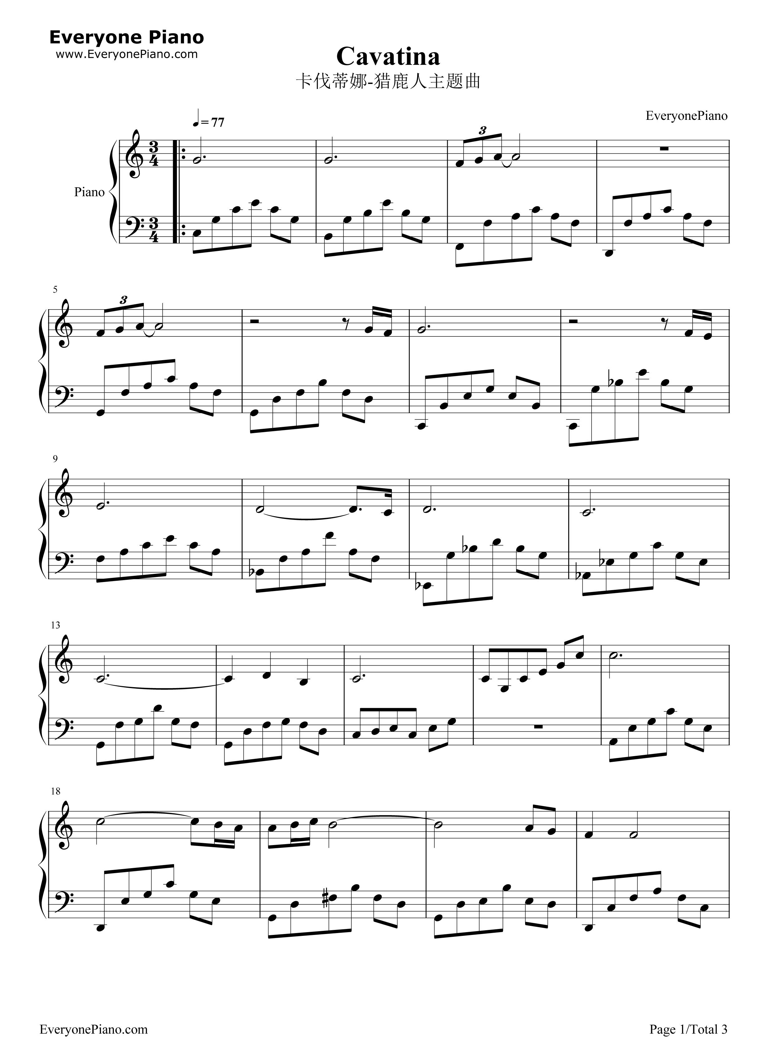 cavatina sheet music