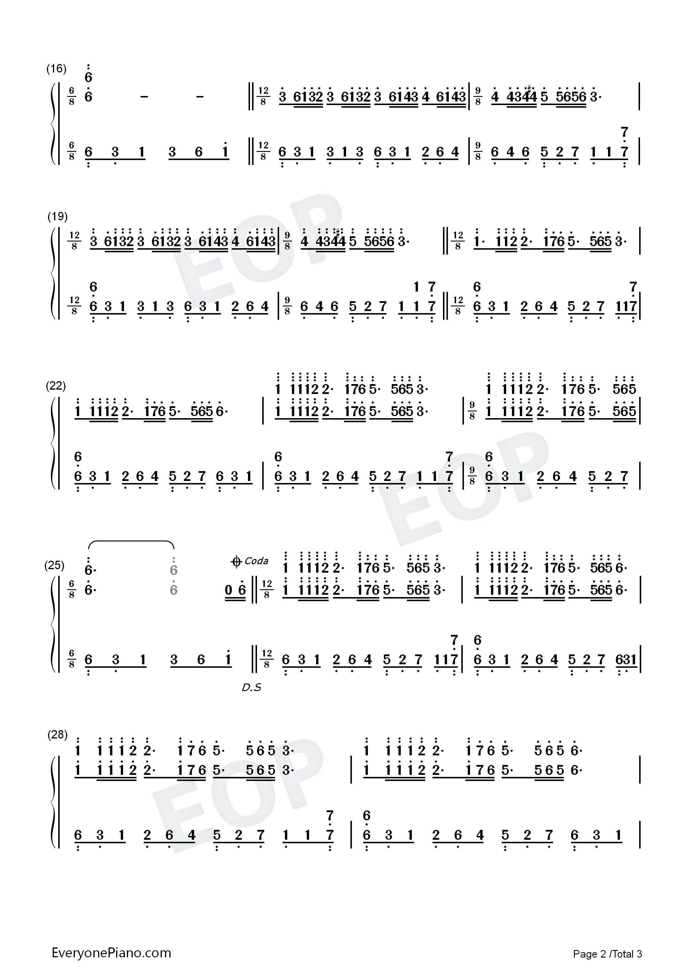 Listen Now Print Sheet Dream Wedding Richard Clayderman Numbered Musical Notation Preview 2