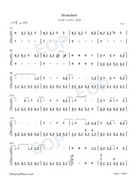 Drenched Numbered Musical Notation Preview 1
