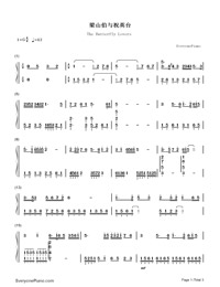 The Butterfly Lovers-Butterfly Lovers' Violin Concerto-Numbered-Musical-Notation-Preview-1