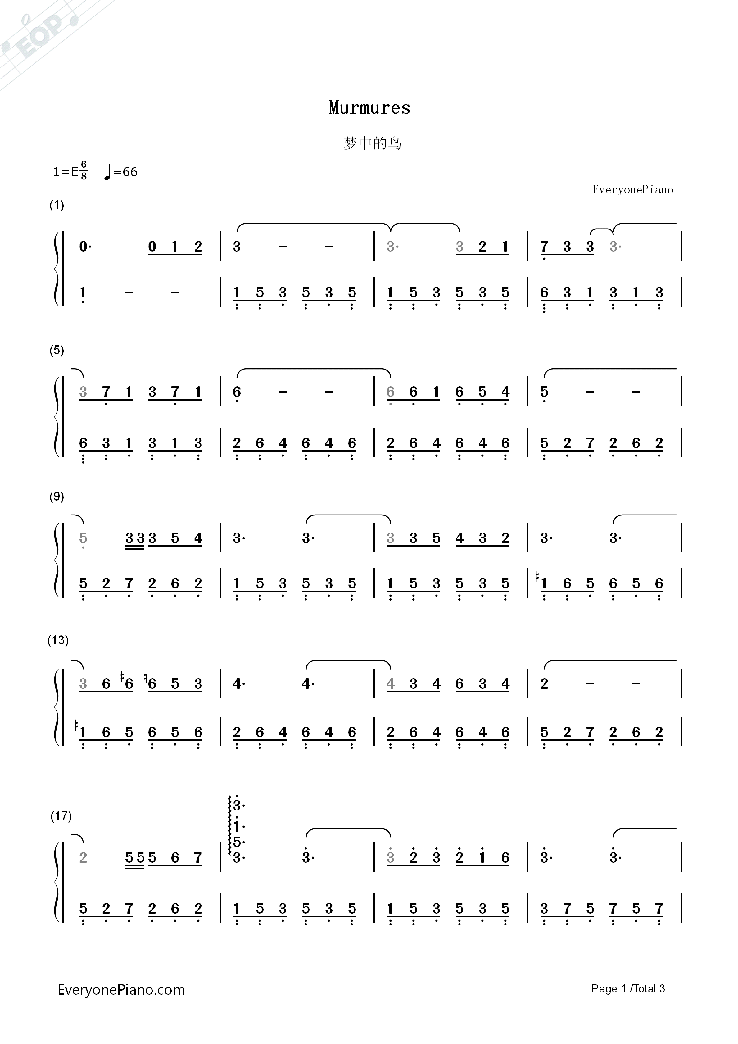 Murmures Numbered Musical Notation Preview 1