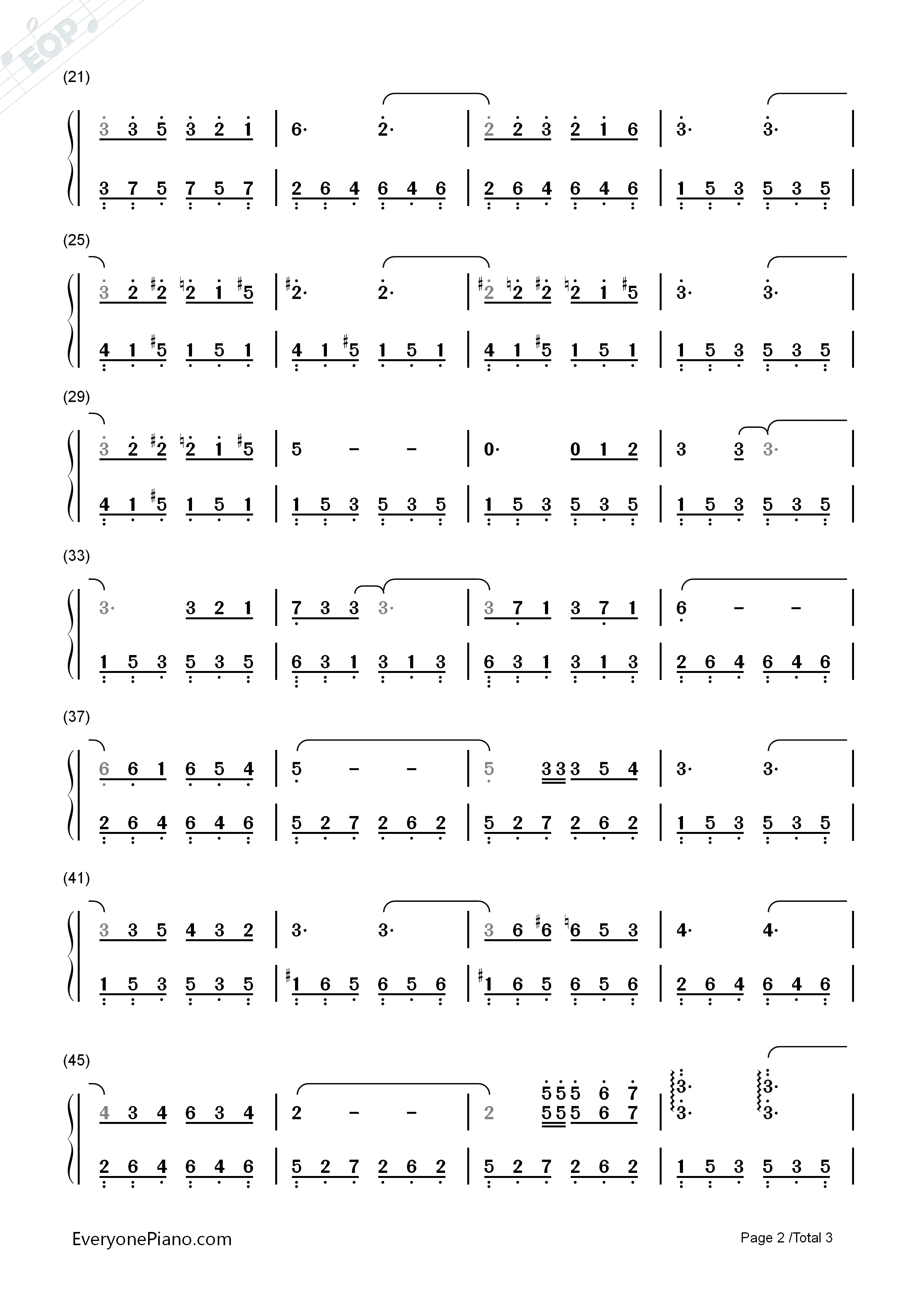Murmures Numbered Musical Notation Preview 2