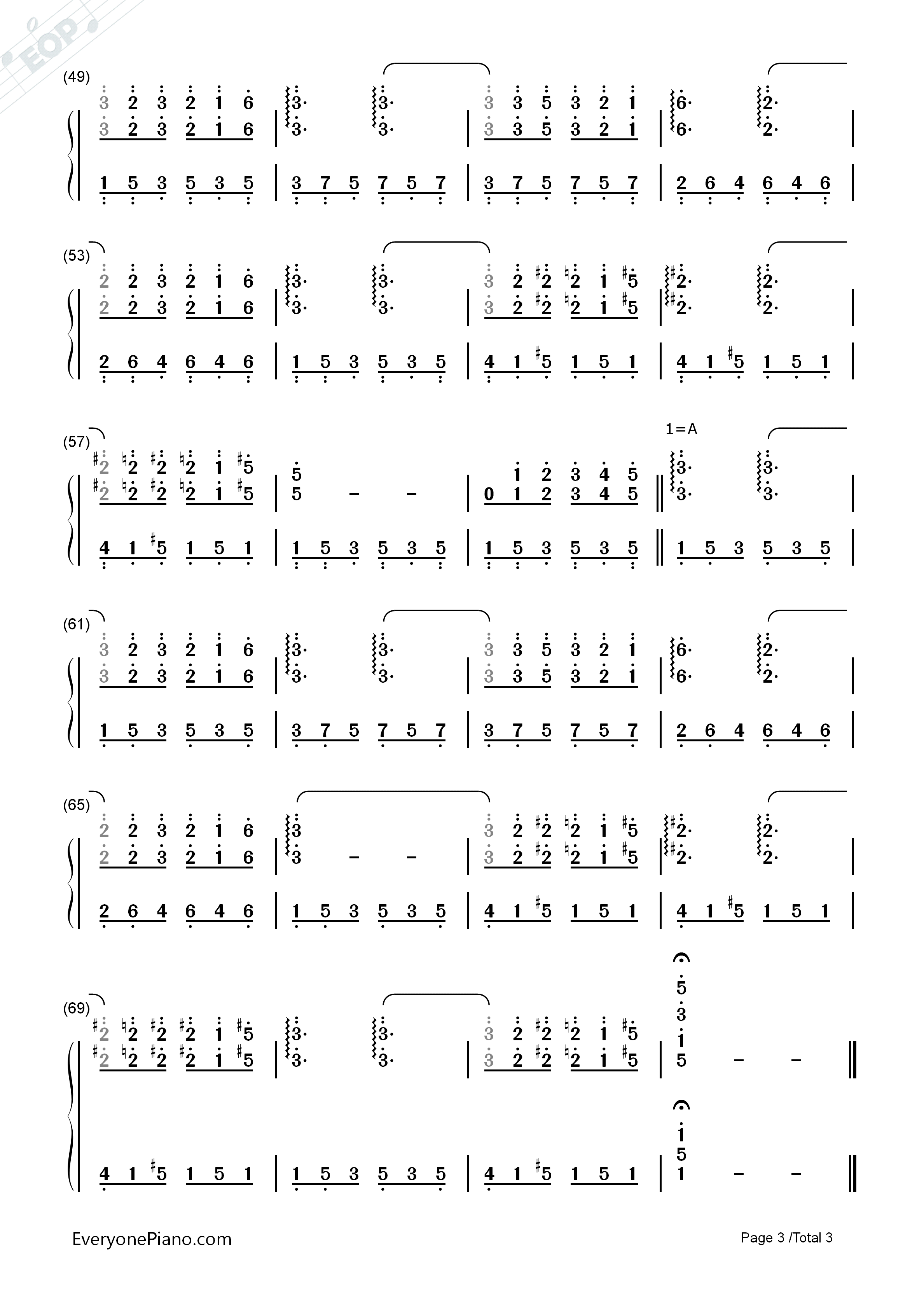 Murmures Numbered Musical Notation Preview 3