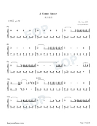 A Comme Amour Numbered Musical Notation Preview 1