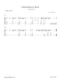 Yimeng Mountain Minor-Numbered-Musical-Notation-Preview-1
