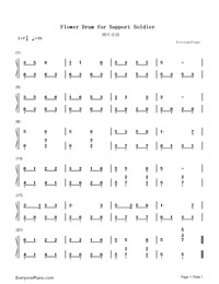 Flower Drum for Support Soldier-Numbered-Musical-Notation-Preview-1