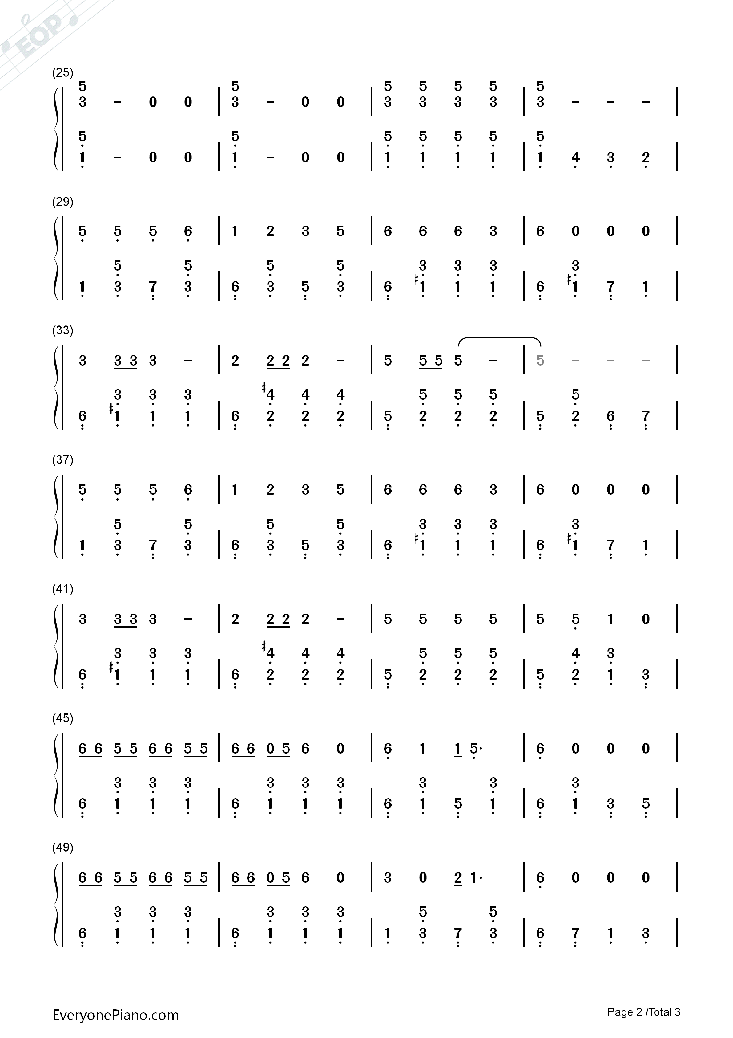 Song of The Little Smarter Numbered Musical Notation Preview 2