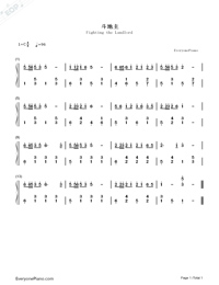 Fighting the Landlord-Numbered-Musical-Notation-Preview-1